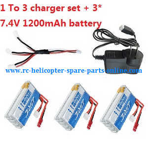 JJRC H28 H28C H28W H28WH quadcopter spare parts 1 to 3 charger set + 3*7.4V 1200mAh battery
