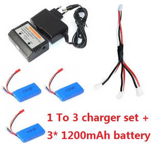 JJRC H40WH RC quadcopter spare parts 1 to 3 charger set + 3*7.4V 1200mAh battery