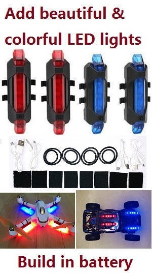 Add upgrade beautiful and colorful LED lights (2*Red +2*Blue)