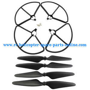 Hubsan H501 H501S H501S-S RC Quadcopter spare parts protection frame set + main blades (Black)