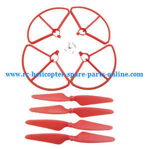 Hubsan H501 H501S H501S-S RC Quadcopter spare parts protection frame set + main blades (Red)