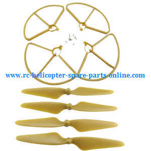 Hubsan H501 H501S H501S-S RC Quadcopter spare parts protection frame set + main blades (Gold)