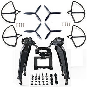 Hubsan H501 H501S H501S-S RC Quadcopter spare parts upgrade undercarriage + camera plate form for Gopro + 3-leaf blades and protection frame kit (Black)