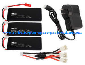 Hubsan H502S H502E RC Quadcopter spare parts 1 to 3 charger set + 3* 7.4V 610mAh battery set