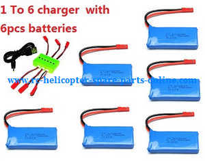 JJRC Q222 DQ222 Q222-G Q222-K quadcopter spare parts 1 to 6 charger set + 6*3.7V 780mAh battery