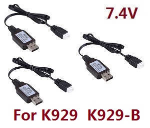 Wltoys K929 K929-A K929-B RC Car spare parts USB charger wire 7.4V 3pcs