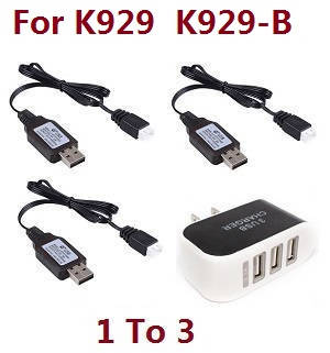 Wltoys K929 K929-A K929-B RC Car spare parts 1 to 3 charger adapter with 3*7.4V USB charger wire