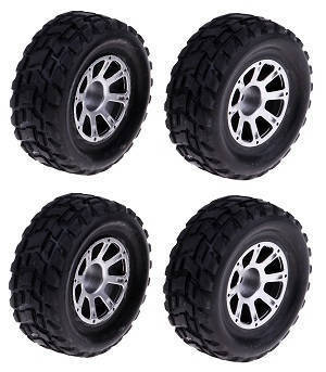 Wltoys K929 K929-A K929-B RC Car spare parts tires with silver hub 4pcs
