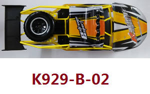 Wltoys K929 K929-A K929-B RC Car spare parts Yellow car shell and frame module assembly K929-B-02