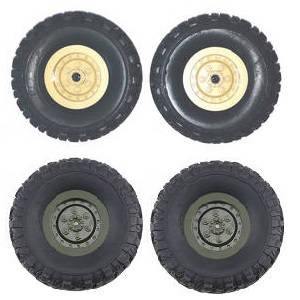 JJRC Q61 RC Military Truck Car spare parts tires 4pcs (Yellow + Green)