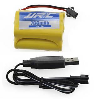 JJRC Q61 RC Military Truck Car spare parts 6V 700mAh battery + USB charger wire