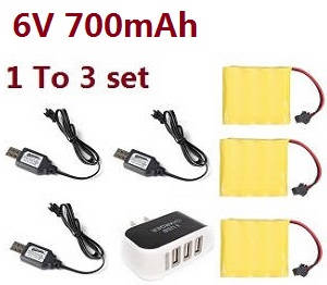 JJRC Q63 RC Military Truck Car spare parts 1 to 3 charger set + 3*6V 700mAh battery set