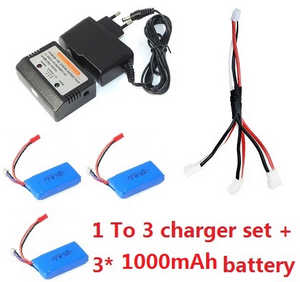 Wltoys WL Q919 Q919A Q919B Q919C RC quadcopter spare parts 1 To 3 charger set + 3*7.4v 1000mAh battery set