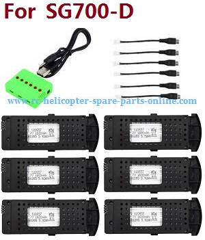 SG700 SG700-S SG700-D RC quadcopter spare parts 1 to 6 charger box set + 6pcs battery set (For SG700-D)