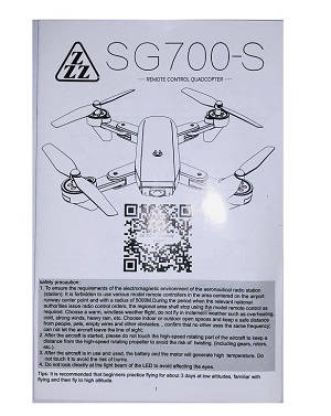 SG700 SG700-S SG700-D RC quadcopter spare parts English manual instruction book (For SG700-S)