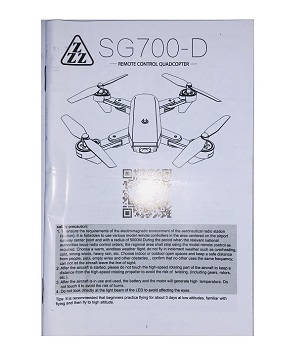 SG700 SG700-S SG700-D RC quadcopter spare parts English manual instruction book (For SG700-D)