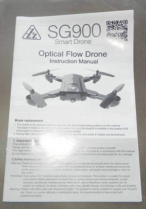 SG900 SG900S ZZZ ZL SG900-S XJL001 XJL002 smart drone RC quadcopter spare parts English manual instruction book