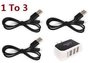 SG906 PRO RC drone quadcopter spare parts 1 to 3 charger adapter with 3*USB charger wire set