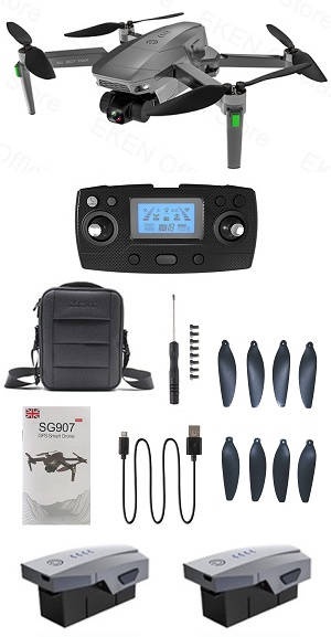 SG907 MAX dual antenna drone with portable bag and 3 battery, RTF