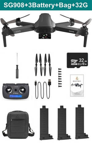 SG908 RC drone with portable bag 32G card and 3 battery RTF