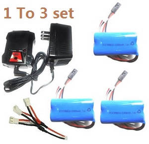 MJX T55 T655 RC helicopter spare parts 1 to 3 charger set + 3*7.4V 2200mAh battery set (Black V1 plug)