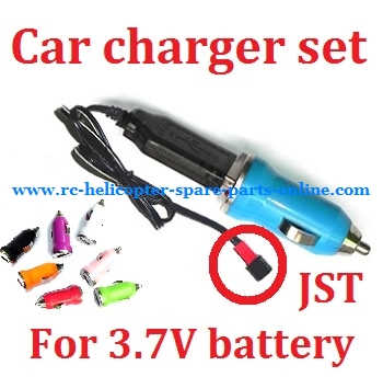 Car charger + USB charger wire for 3.7V battery (Set) # 3.7V (JST)