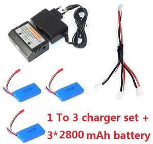 Wltoys WL V323 quadcopter spare parts 3*2800mAh battery + 1 To 3 charger wire + charger + balance charger box (set)