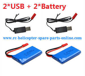 JJRC Wltoys WL V686 V686G V686K V686J V686L V686M DV686 DV686G quadcopter spare parts 2*USB cable + 2*battery