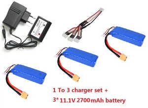 Wltoys WL WL913 RC Speed Boat spare parts 1 to 3 charger set + 3*11.1V 2700mAh battery set