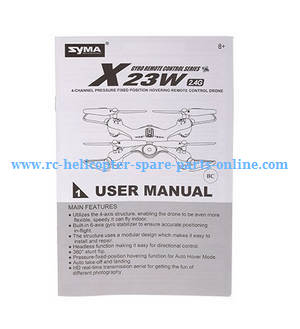 Syma X23W X23 RC quadcopter spare parts English manual instruction book