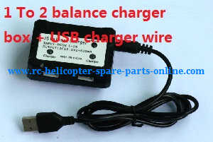 XK X380 X380-A X380-B X380-C quadcopter spare parts 1 To 2 balance charger box + USB charger wire (11.1V)