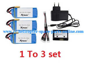 XK X380 X380-A X380-B X380-C quadcopter spare parts 1 to 3 cherger set + 3*11.1V 5400mAh battery