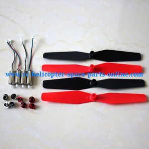 Syma X56pro X56W-P RC quadcopter spare parts main blades (Red-Black) + main motors + caps of blades (Silver + Red)