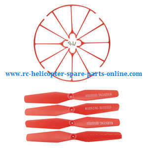 Syma X56pro X56W-P RC quadcopter spare parts protection frame set + main blades (Red)