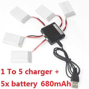 MJX X-series X705C X705 quadcopter spare parts 1 TO 5 charger set + 5x 3.7V 680mAh battery