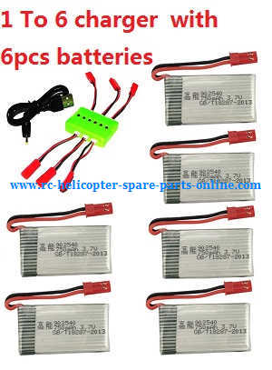 MJX X-series X800 quadcopter spare parts 1 To 6 charger + 6*3.7V 750mAh battery (set)