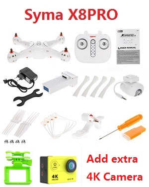 Syma X8PRO GPS RC quadcopter with camera and add extra 4K sports camera