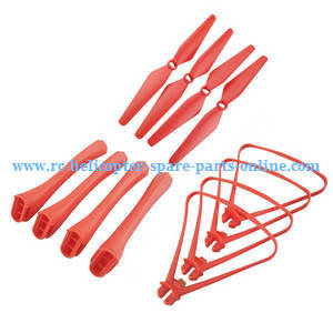 Syma X8PRO GPS RC quadcopter spare parts protection frame set + main baldes + undercarriage (Red)