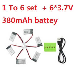 MJX X906T RC quadcopter spare parts 1 to 6 charger set + 6*3.7V 380mAh battery set