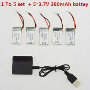 MJX X906T RC quadcopter spare parts 1 to 5 charger set + 5*3.7V 380mAh battery set