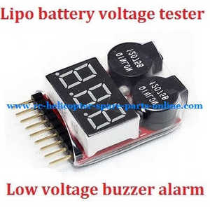 XK A1200 RC Airplanes Helicopter spare parts Lipo battery voltage tester low voltage buzzer alarm (1-8s)