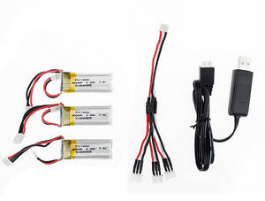 XK A430 RC Airplane Drone spare parts 7.4V 300mAh battery 3pcs + 1 to 3 charger wire + USB charger wire