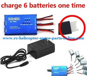 XK K124 RC helicopter spare parts BC-1S06 balance charger box + charger (set) without battery can charge 6 batteries at the same time (9128 plug)