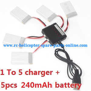 XK X100 quadcopter spare parts 1 To 5 charger set + 5*3.7V 240mAh battery set