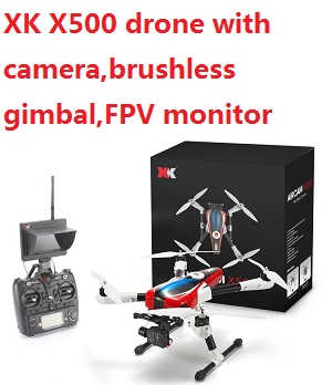 XK Aircam X500 Quadcopter with camera,brushless gimbal,FPV monitor.