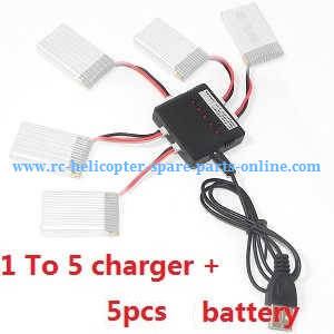 Yi Zhan X4 RC Quadcopter spare parts 5*3.7V 350mAh battery + 1 To 5 charger box set